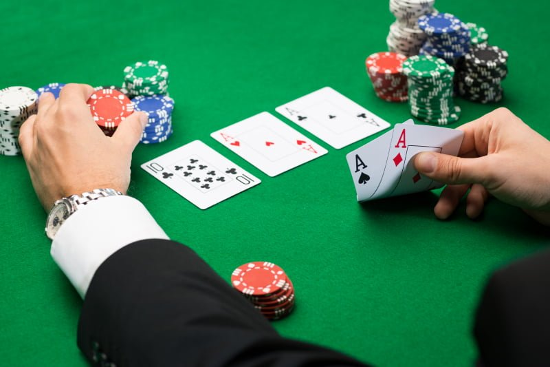Poker player with cards - ok