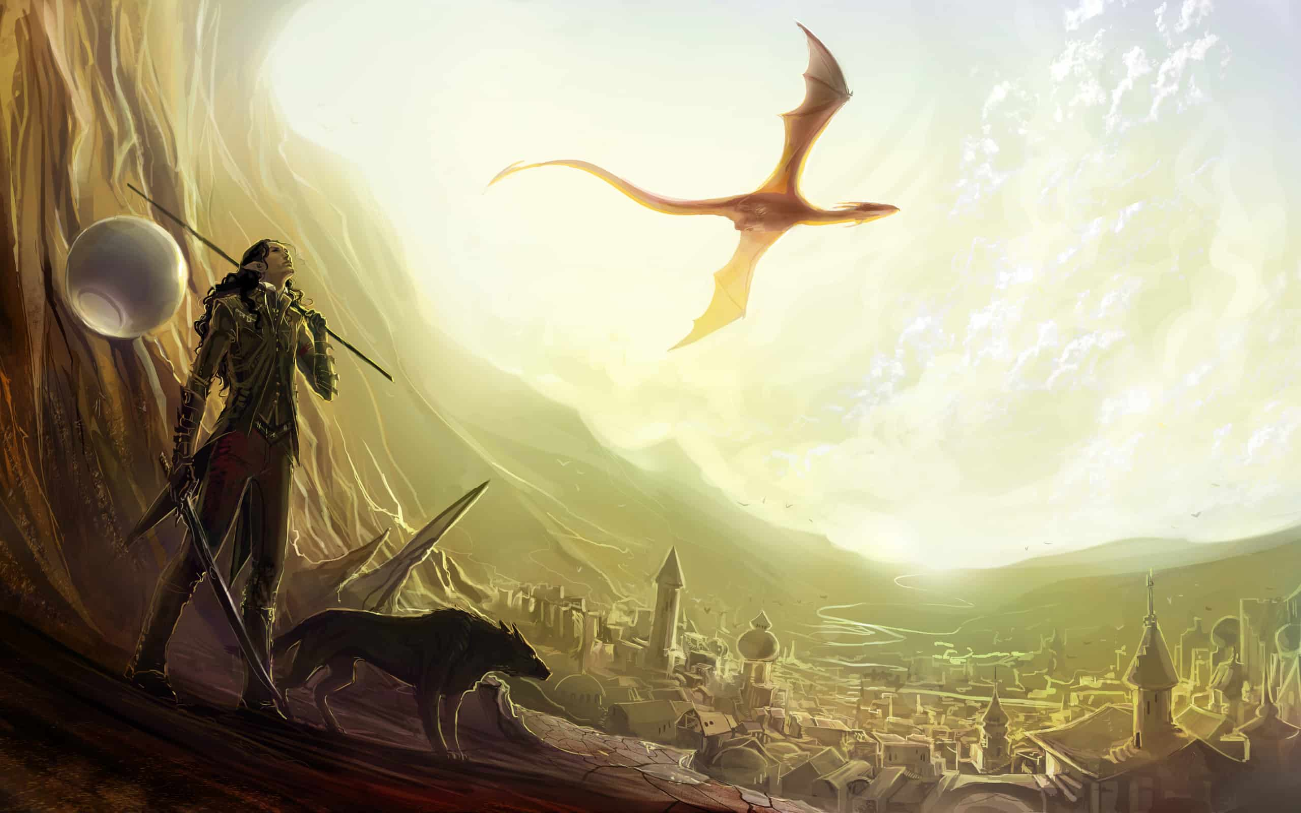 a mountain with a girl standing, looking at a dragon flying in the sky
