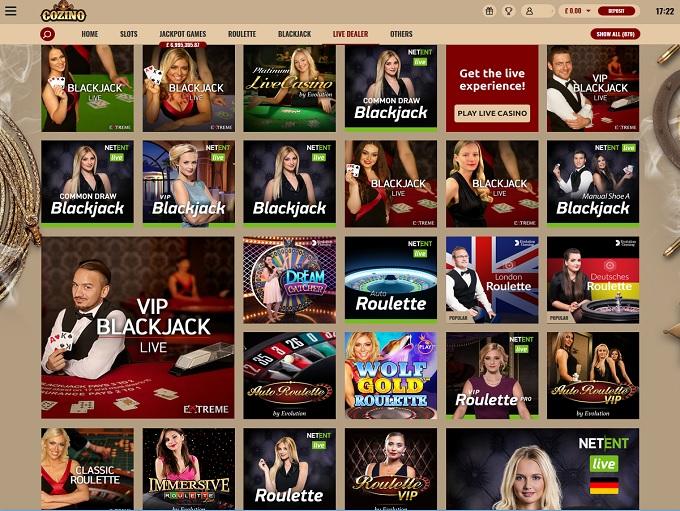 Cozino live casino dealer