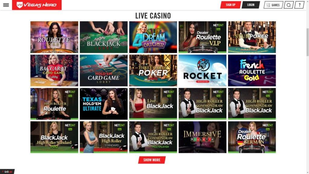 Vegas Hero Live Dealer Casino